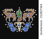 deer  cactus  flowers  skull... | Shutterstock .eps vector #512827363