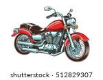 hand drawn vintage motorcycle.... | Shutterstock .eps vector #512829307