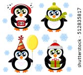 set of cute cartoon penguin | Shutterstock .eps vector #512835817