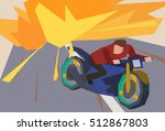 man escaping an explosion on a... | Shutterstock .eps vector #512867803