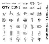 set of black city icons. group... | Shutterstock .eps vector #512882263