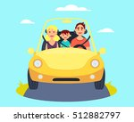 happy family riding in a car.... | Shutterstock .eps vector #512882797