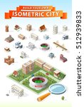 build your own isometric city....   Shutterstock .eps vector #512939833