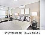 comfortable bed and pillows... | Shutterstock . vector #512958157