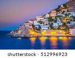 hydra island on a summer night... | Shutterstock . vector #512996923