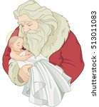 baby jesus and santa claus | Shutterstock .eps vector #513011083