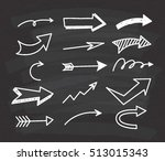 set of arrow doodle on... | Shutterstock .eps vector #513015343