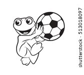 happy frog playing with foot... | Shutterstock .eps vector #513018097