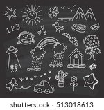 children's drawing on... | Shutterstock .eps vector #513018613