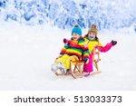 little girl and boy enjoying... | Shutterstock . vector #513033373