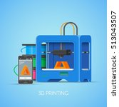 3d printing concept poster in... | Shutterstock . vector #513043507