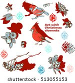 set  with snowflakes and red... | Shutterstock .eps vector #513055153
