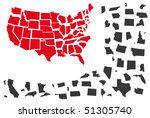 puzzle from map usa in red and...   Shutterstock .eps vector #51305740