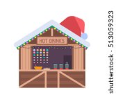 christmas market stall with... | Shutterstock .eps vector #513059323