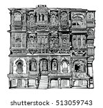 facade of old house with...   Shutterstock .eps vector #513059743