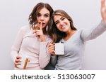 selfie portrait of  two young... | Shutterstock . vector #513063007