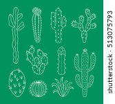 hand drawn cactus outline set.... | Shutterstock .eps vector #513075793