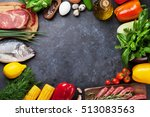 vegetables  fish  meat and... | Shutterstock . vector #513083563