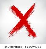 grunge x mark.hand drawn letter ... | Shutterstock .eps vector #513094783