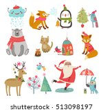 vector set of cute characters.... | Shutterstock .eps vector #513098197