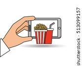 smartphone cinema food fast... | Shutterstock .eps vector #513099157