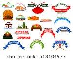 japanese cuisine. sushi... | Shutterstock .eps vector #513104977