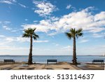 bench at the shore with palm... | Shutterstock . vector #513114637