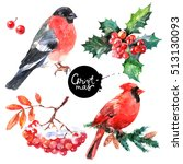 watercolor merry christmas and... | Shutterstock . vector #513130093