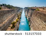 corinth channel in greece view... | Shutterstock . vector #513157033