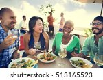 group of people dining concept | Shutterstock . vector #513165523