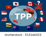 collapse of tpp trans pacific... | Shutterstock .eps vector #513166423