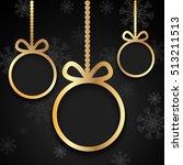 golden christmas balls cut from ...   Shutterstock .eps vector #513211513