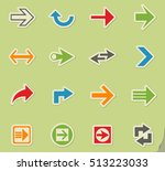 arrow web icons on color paper... | Shutterstock .eps vector #513223033