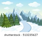 winter landscape with mountains ... | Shutterstock . vector #513235627