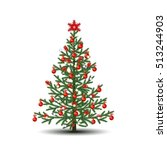 christmas tree with ornaments... | Shutterstock .eps vector #513244903
