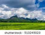 the green mountain in the cloud ... | Shutterstock . vector #513245023