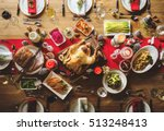 christmas family dinner table... | Shutterstock . vector #513248413