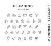 set line icons of plumbing | Shutterstock .eps vector #513263047