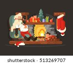 character santa claus on chair... | Shutterstock .eps vector #513269707