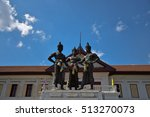 Small photo of 3 Kings Monument in front of Art and culture city , Chiang Mai, northern of Thailand,blue sky, blue sky cloud