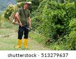 lawnmower cutting grass | Shutterstock . vector #513279637