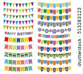 colorful bunting flags and... | Shutterstock . vector #513283123