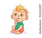 Funny Vector Cartoon Baby With...