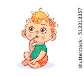 funny vector cartoon baby with... | Shutterstock .eps vector #513313357