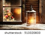 christmas lamp of fire and... | Shutterstock . vector #513320833