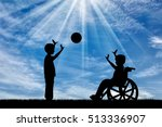 boy in wheelchair playing with... | Shutterstock . vector #513336907