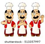 arabic cook. set mascots. | Shutterstock .eps vector #513357997