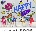 kids imagination space rocket... | Shutterstock . vector #513360007