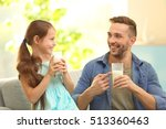 father and daughter with... | Shutterstock . vector #513360463