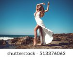 sexy young woman in white... | Shutterstock . vector #513376063